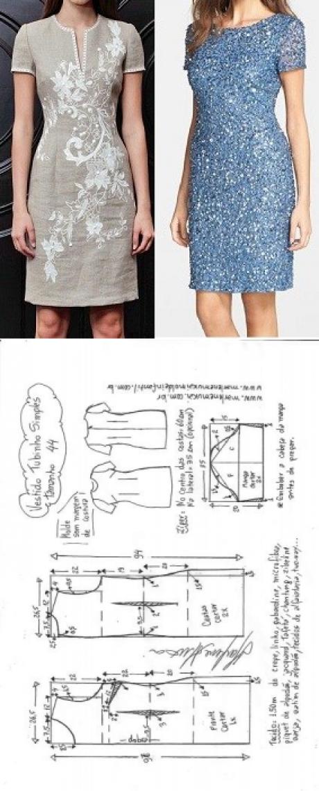 Vestido tubinho simples manga curta | DIY - molde, corte e costura ...