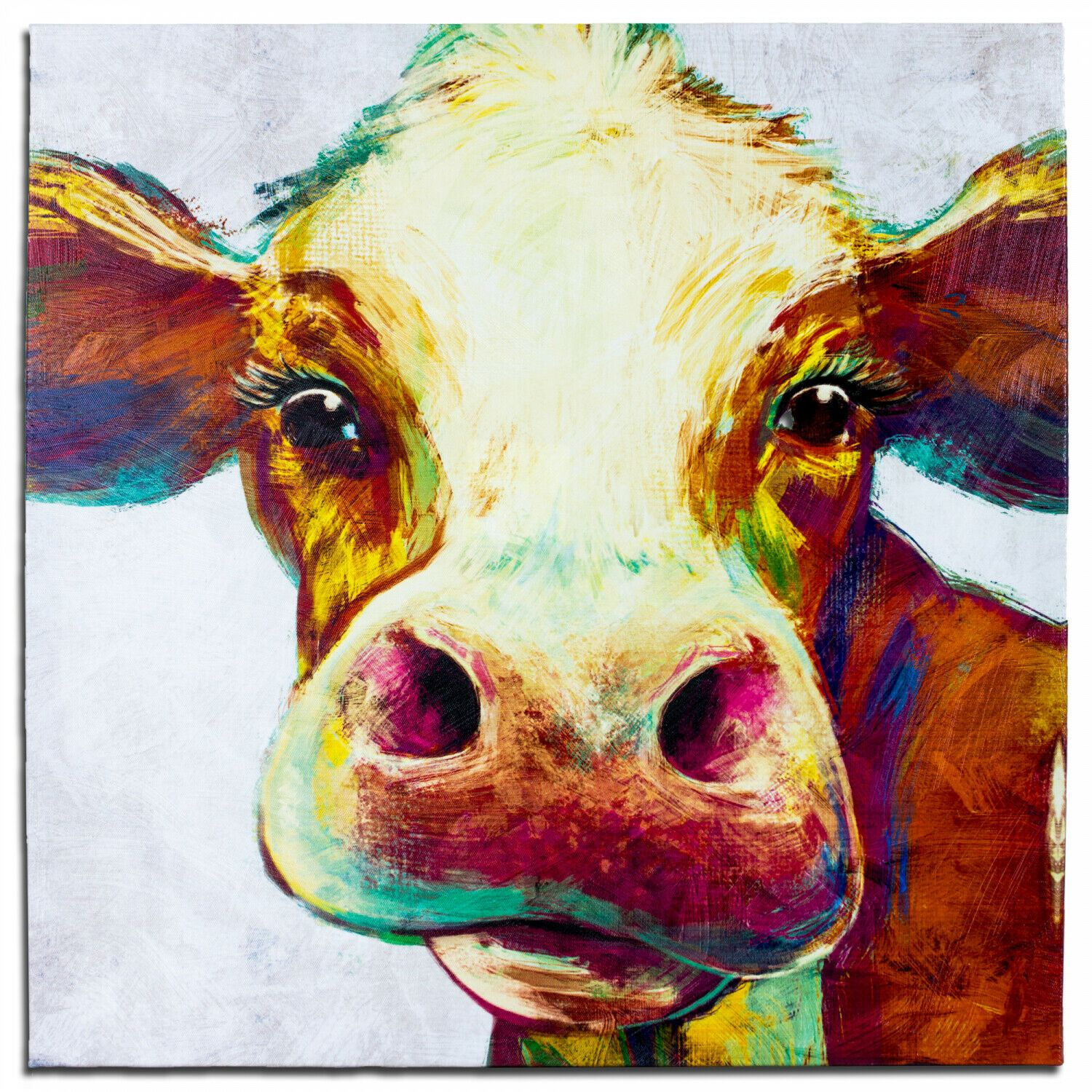 Crystal Art Cow Wrapped Canvas Painting Print Wall Art Decor 20 X 20 46 38 Farmhouse Dining Room Decor Cow Canvas Cow Painting Cow Wall Art