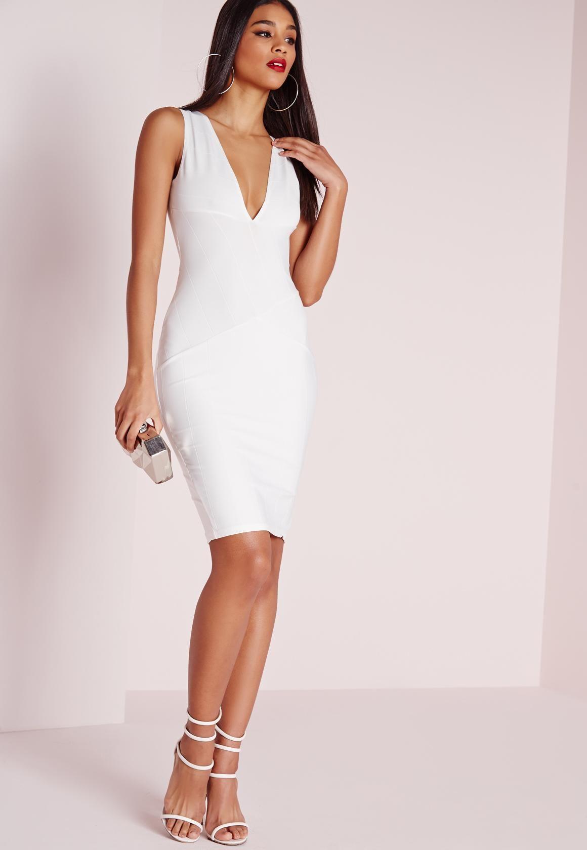 10++ White bodycon bandage dress info