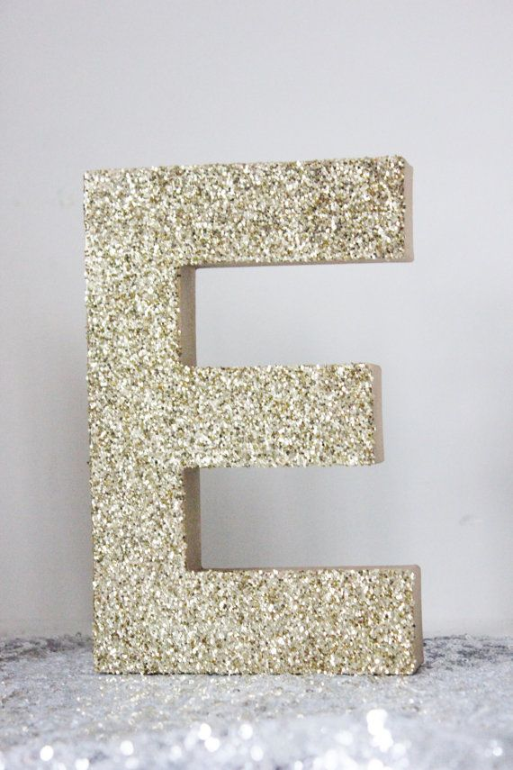 2 8quot glitter letter glittered gold silver free standing for Glitter cardboard letters
