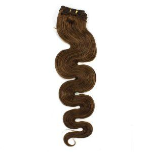 20inch Long 100g Brazilian remy Wave Weft Human Hair Extensions#10 Medium Ash Brown by