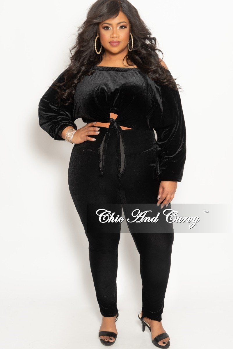 4ccc04a14ded Final Sale Plus Size 2 Piece Velour Off the Shoulder Crop Top and Pants Set  in Black
