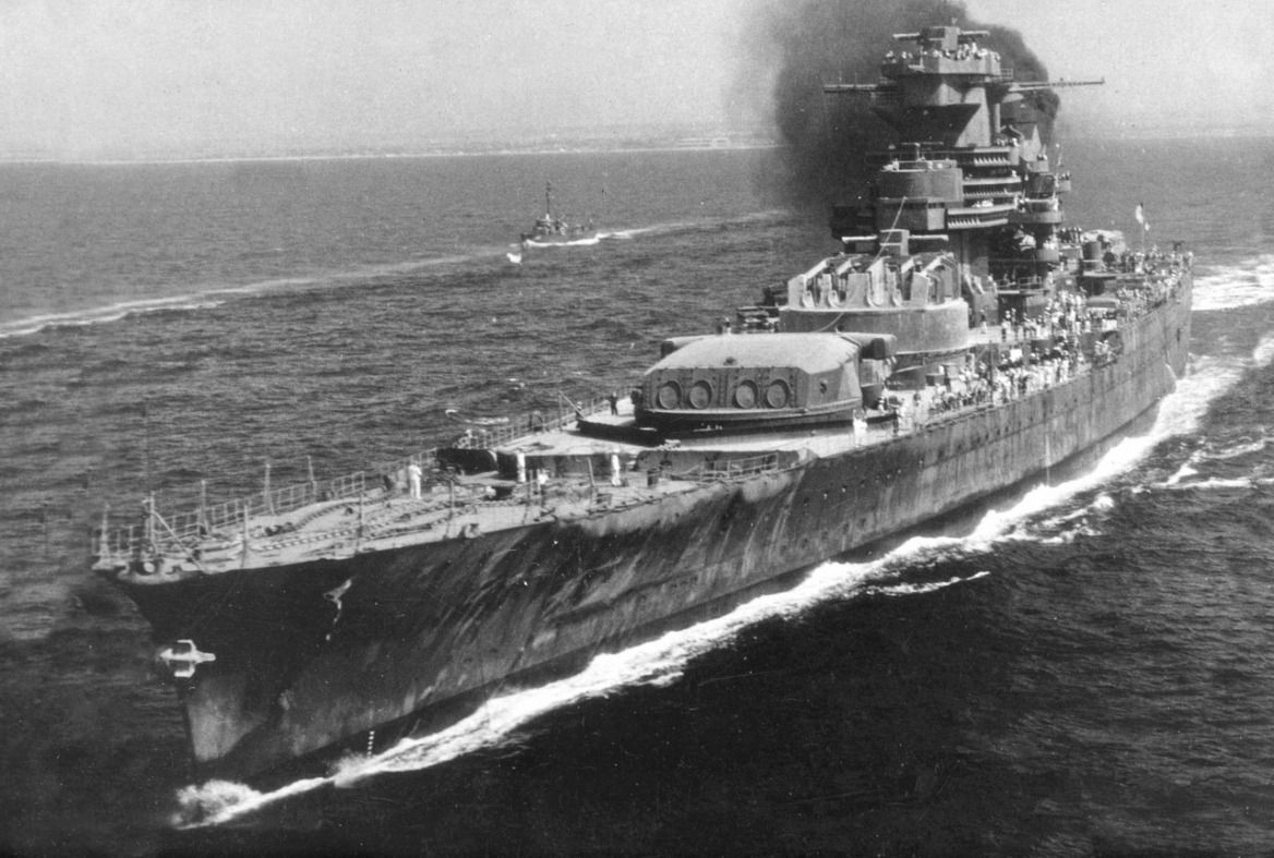 incomplete french battleship jean bart sailing from casablanca to cherbourg for repairs in 1945. Black Bedroom Furniture Sets. Home Design Ideas