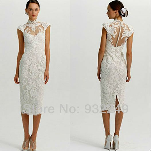 White lace dresses tea length