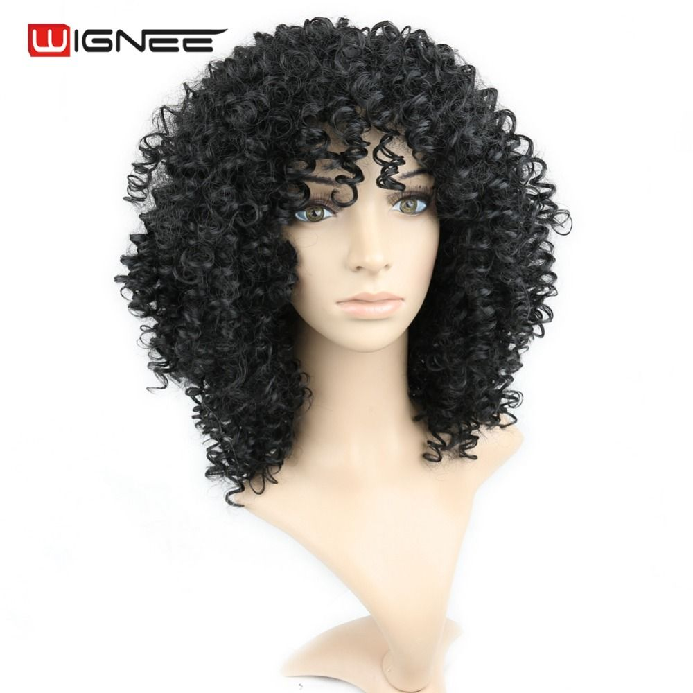 Wignee perruque afro kinky curly synthetic wig natural hair pure