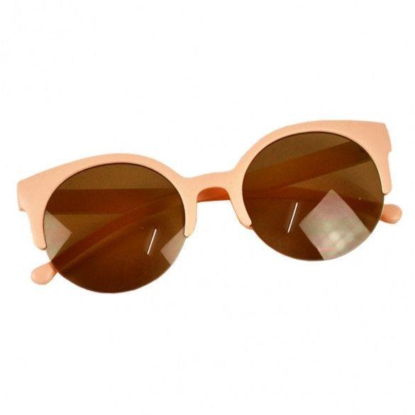 b58893d20f Unisex Retro Designer Super Round Circle Cat Eye Semi-Rimless Sunglasses