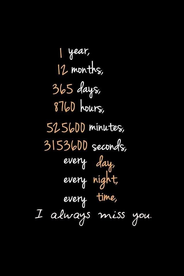 1 Year 12 Months 52 Weeks 365 Days Quotes: I Will Miss You Every Second, Every Minute, Everyday Of