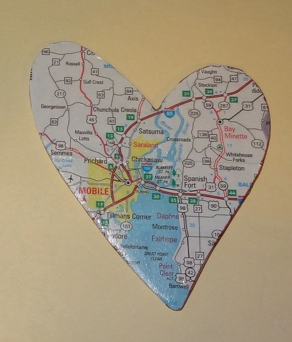Satsuma Alabama Map: Mobile Alabama Map Heart Magnet OOAK By Lynellen On Etsy