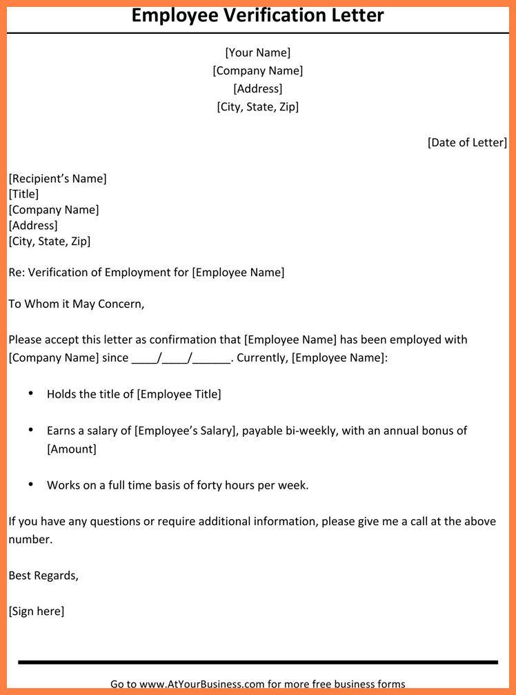 Standard Verification Of Employment Form Fresh 7 Employment Verification Letter With Salary In 2020 Letter Template Word Letter Of Employment Employment Letter Sample