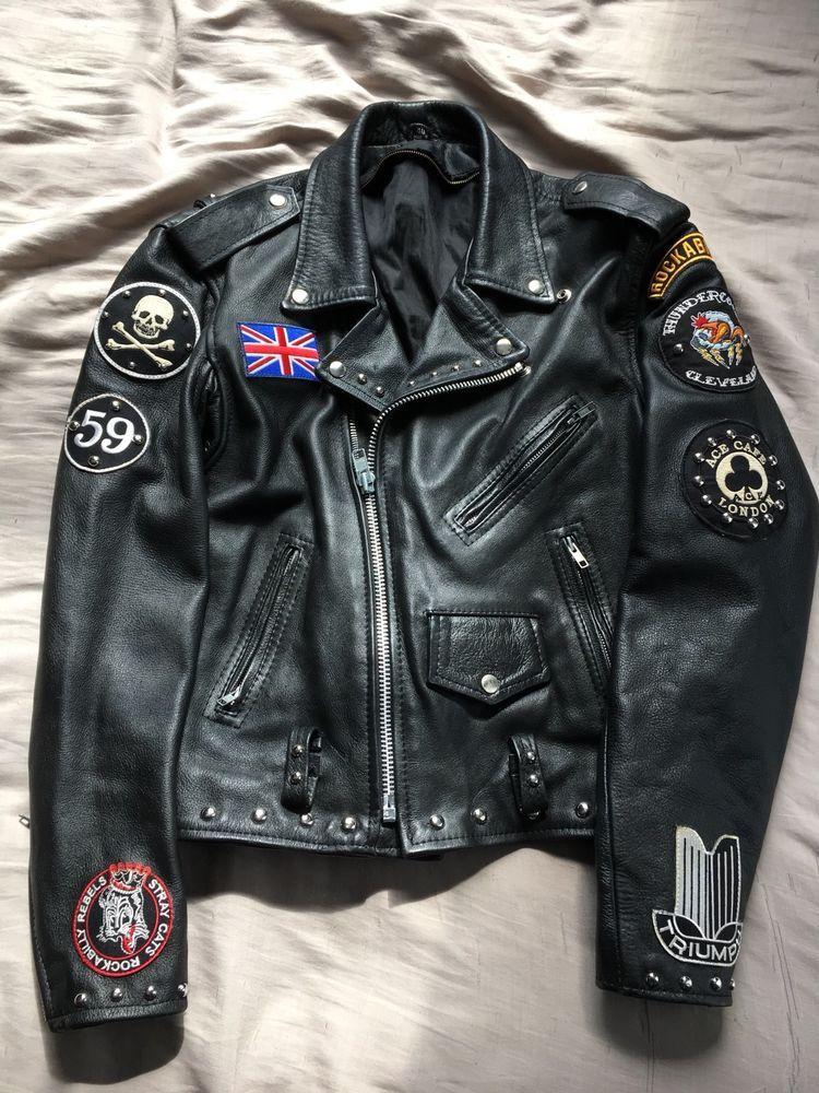 Mens Motorcycle Rocker Ace Cafe London Punk Rock Jacket Ebay Old