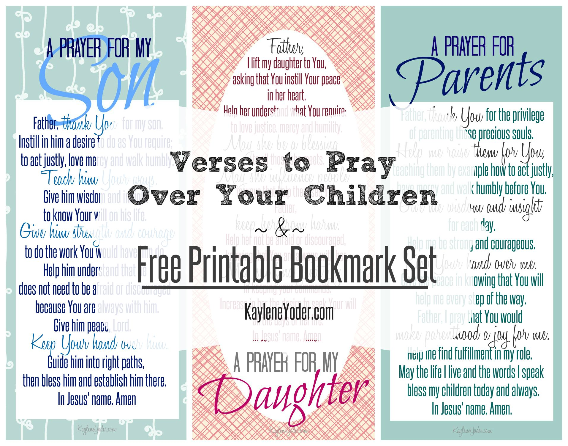 Why you should pray for your children's and five verses to pray over them. PLUS free printable bookmark set!