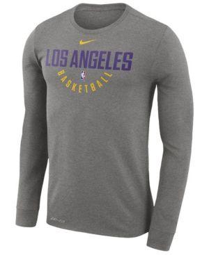 Nike Men's Los Angeles Lakers Dri-fit Cotton Practice Long Sleeve T-Shirt -
