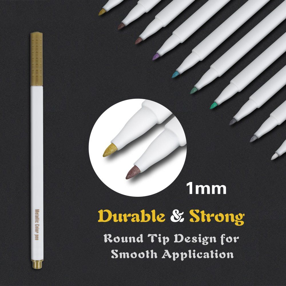 Tanmit metallic markers painting pen 10 colors calligraphy