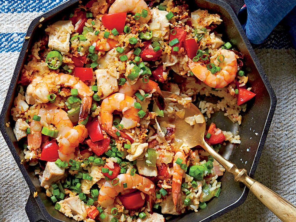 skillet rice with shrimp and chicken recipe vegetable stock