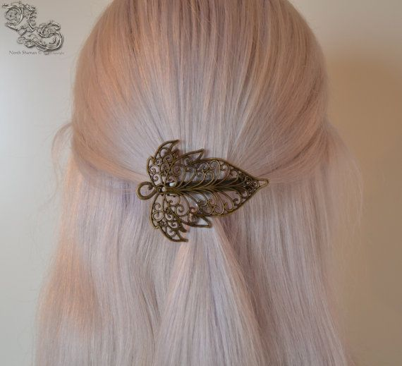 Barrette Lumière elfique , bronze version Elven medieval pagan leaf  filigree hair accessoire North Shaman