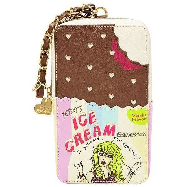 Betsey Johnson ICE CREAM SANDWICH Large Wristlet Tech Phone Case Clutch Bag NWT #BetseyJohnson #WristletClutchPhoneCase