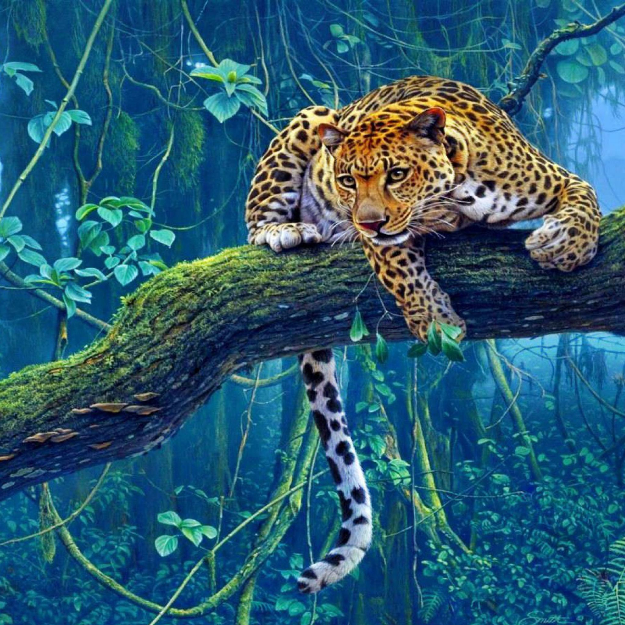 A Jungle Of Big Cat Designs: Jungle Tree Branch Big Cat #Apple IPad Air