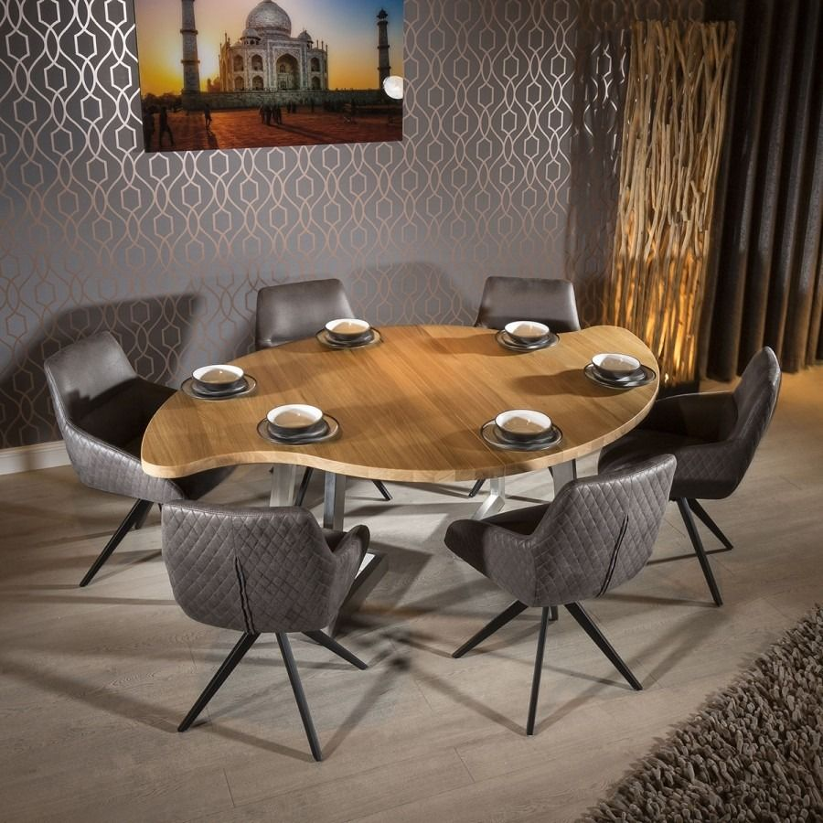 Curvy Round Dining Table Natural Solid Oak 6 Grey Brown Swivel