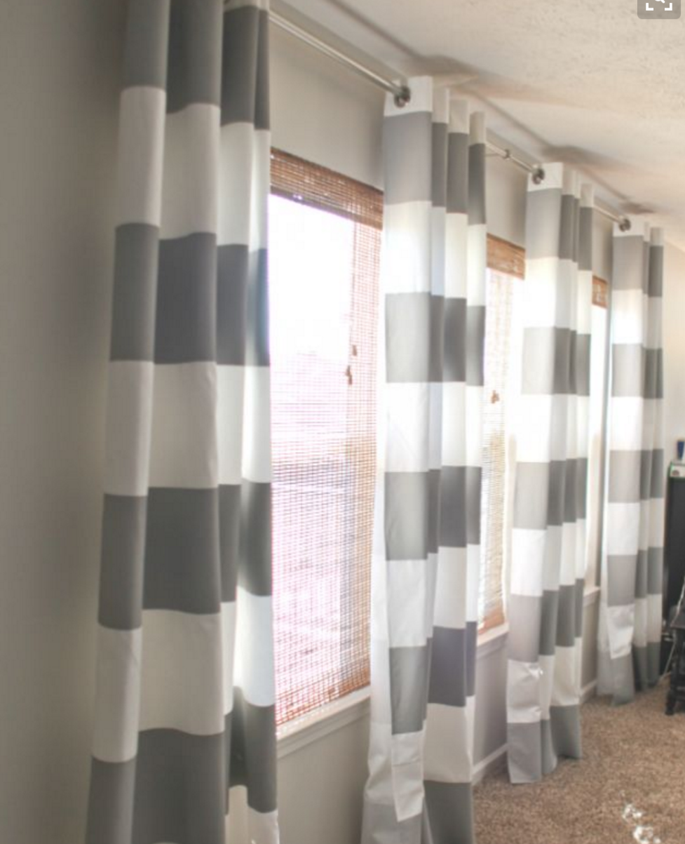Gray White Striped Curtains Painted Curtains Curtains Li