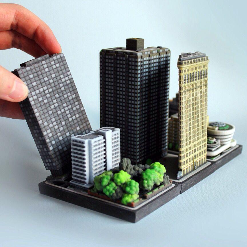 3D Printed Miniature Architecture Diorama Of Buildings