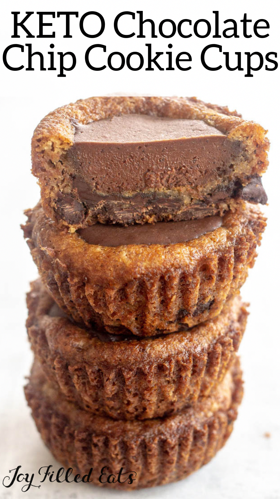 Chocolate Chip Cookie Cups with Ganache Filling - low carb, gluten-free, grain-free, THM S - these are a fun variation on a classic cookie. Simply bake chocolate chip cookie dough in a muffin tin, make a well, and fill with rich chocolate ganache for a decadent treat.