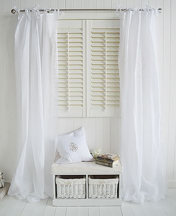 White Living Room With White Voile Curtains And Window Seat White Furniture Living Room White Voile Curtains Living Room Furniture