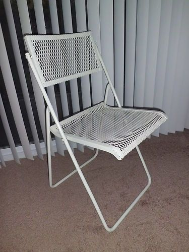 Lot Of 4 Woodard White Wrought Iron Folding Metal Patio Chairs Vintage Set Home