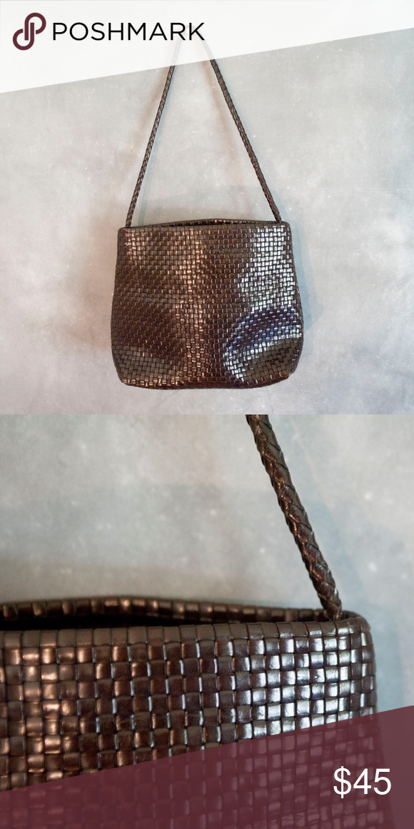 61afa90674db Desmo Made In Italy Woven Leather Purse Vintage Desmo Made in Italy  shoulder bag. Woven leather in dark brown. Very good to excellent vintage  condition.