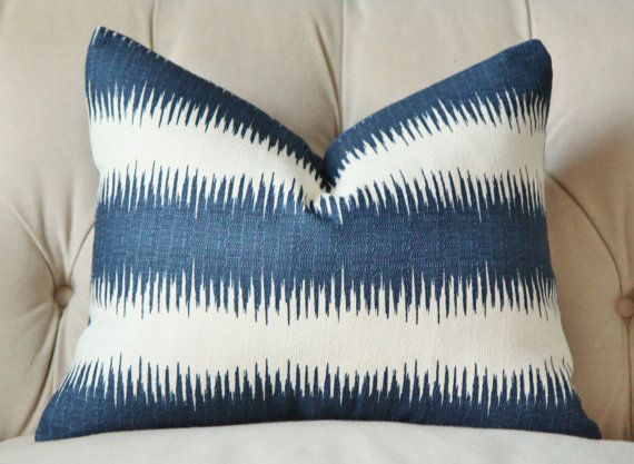 Blue And White Stripe Pillow Cover Linen Striped Cushion