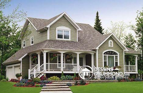 Plan de maison W2888, champêtre, country, house style, home ideas - idee de plan de maison