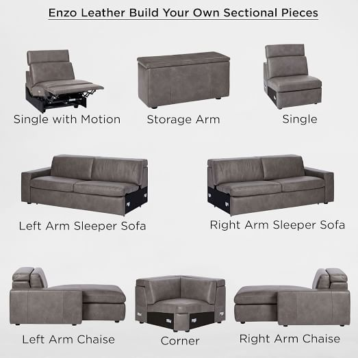 Build Your Own Enzo Leather Sectional Pieces Leather
