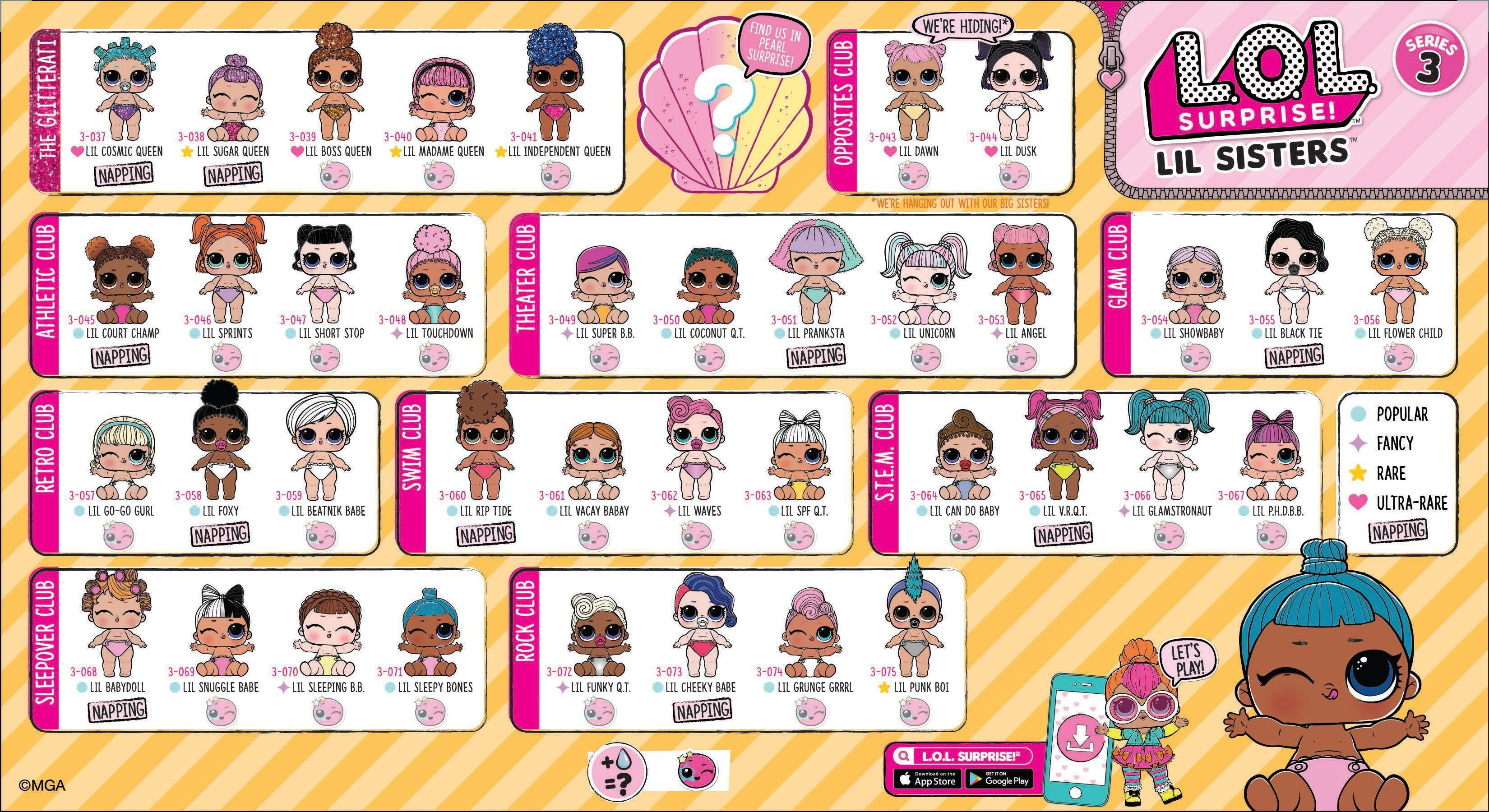 Lol Surprise Lil Sisters Series 3 Checklist List Collector Guide Lil Sister Lol Dolls Lol