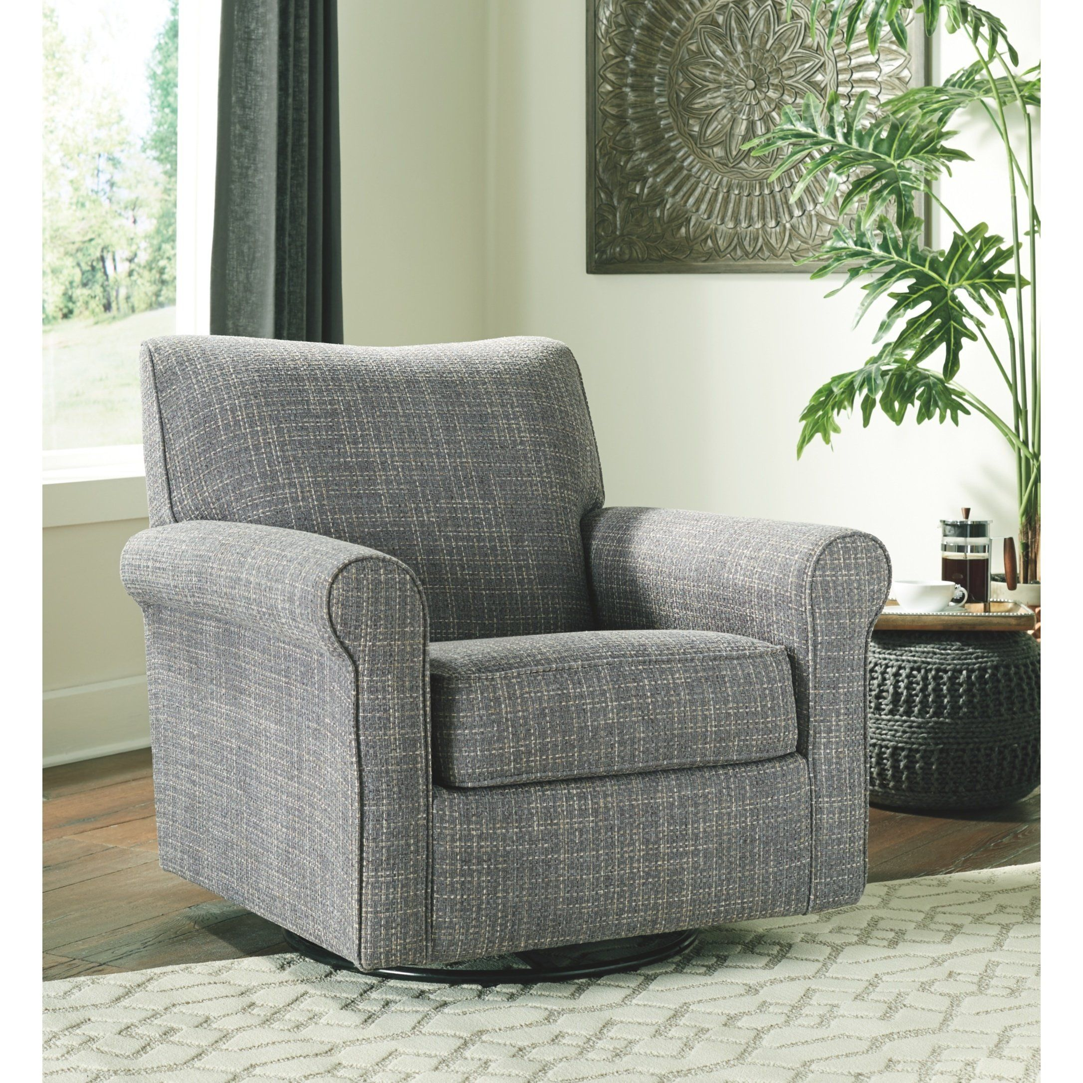 Renley Swivel Glider Accent Chair Grey Signature Design By
