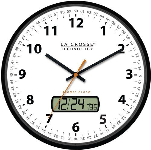 La Crosse Technology Wt 3128u 12 Inch Atomic Analog Wall Clock With Lcd 31 97 Atomic Wall Clock Wall Clock Clock