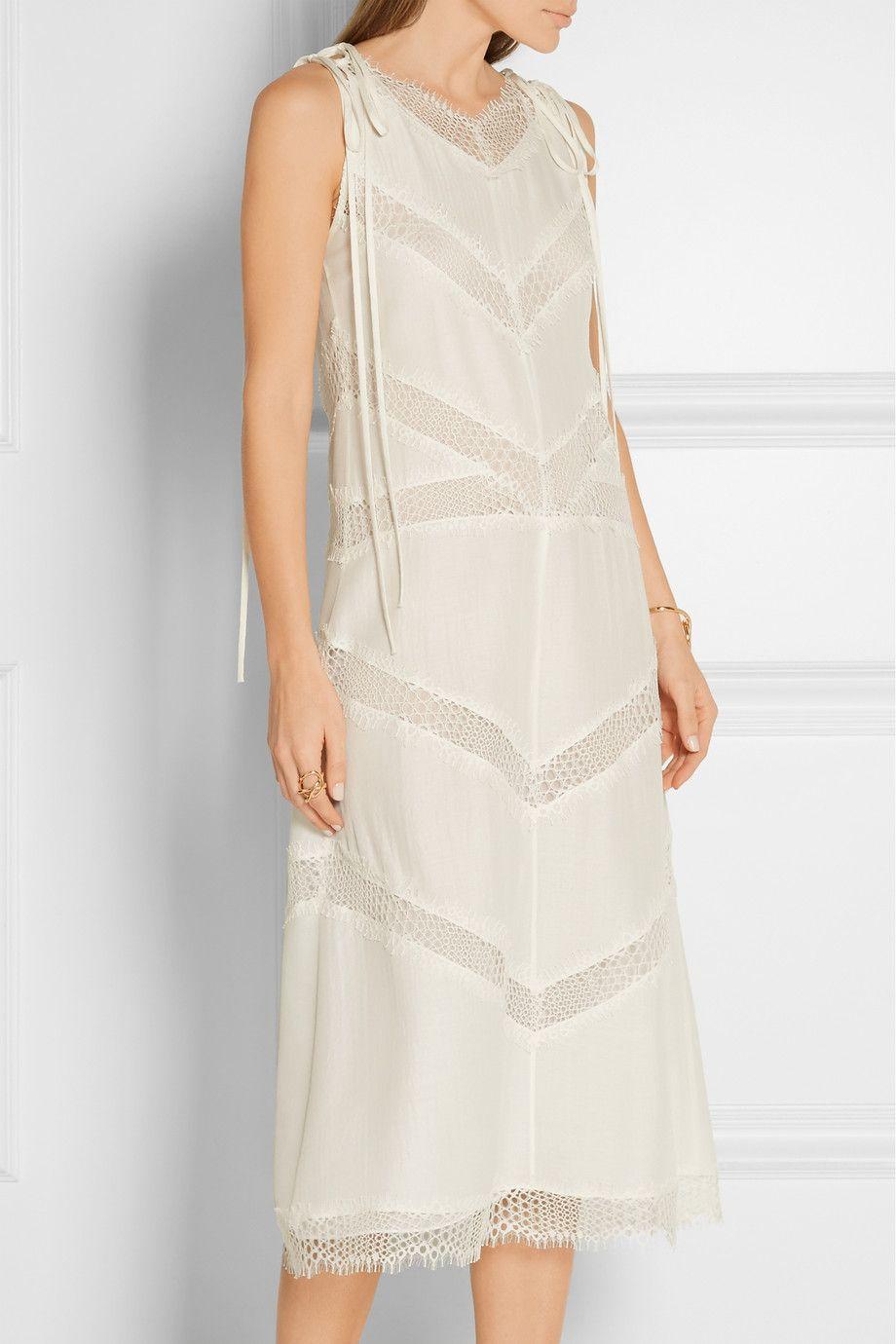 Wes Gordon Lace Paneled Silk And Wool Blend Midi Dress Net