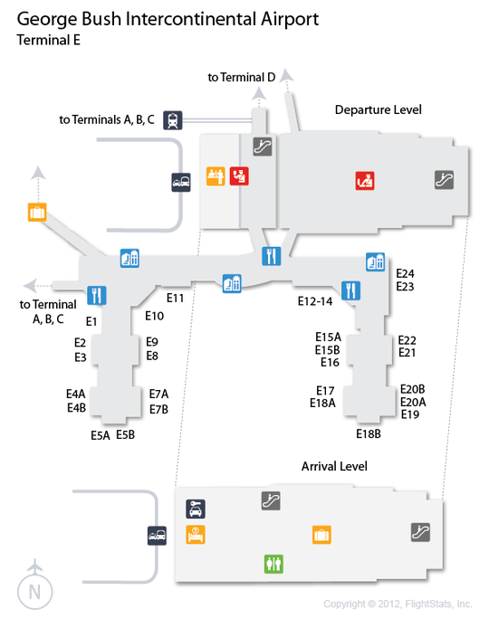 iah terminal e map Iah George Bush Intercontinental Airport Terminal Map George iah terminal e map