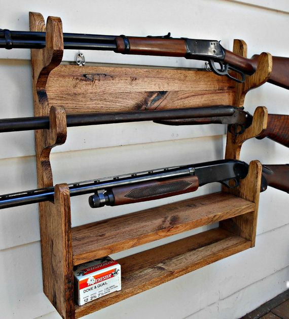 gun rack solid oak holds 3 guns with shelf by robsrusticcreations pallet creations. Black Bedroom Furniture Sets. Home Design Ideas