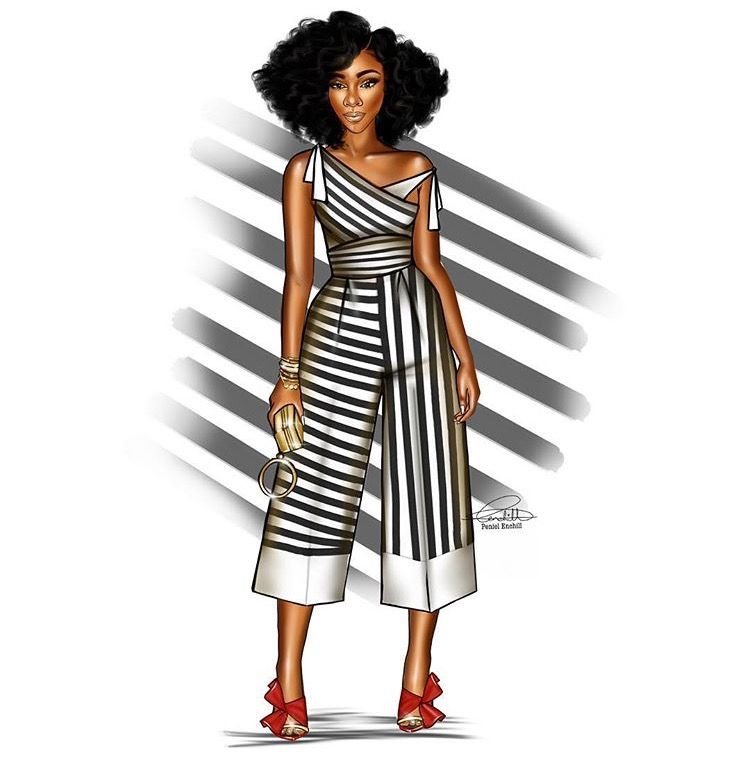 Black Female Fashion: Black Women Art, Black Girl Magic Art, Dress