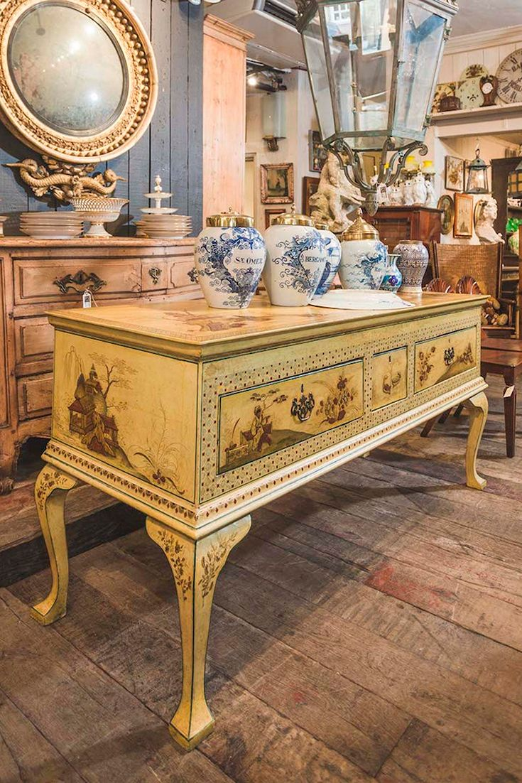 £3900.  An early 18th century pine dresser base with top notch later chinoiserie decoration. The lacquer work is raised and undamaged. Applied in the early years of the 20th century. Circa England 1740.  #antiques #antiquesdealer #antiquesshop #interiordecoration #interiordesign #interiordecorating #antiquescollecter #antiquesshop #antiquehome #antique #englishantiques #antiquefurniture #georgianantiques #georgianfurniture #georgianera #decorative #decorativeantiques #decorativeliving