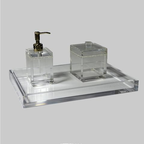 Mike And Ally Clear Ice Lucite Bath Accessories Com Imagens