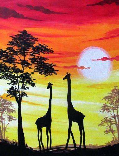 Giraffe Sunset Safari Paint Nite Painting Tuval Resimleri