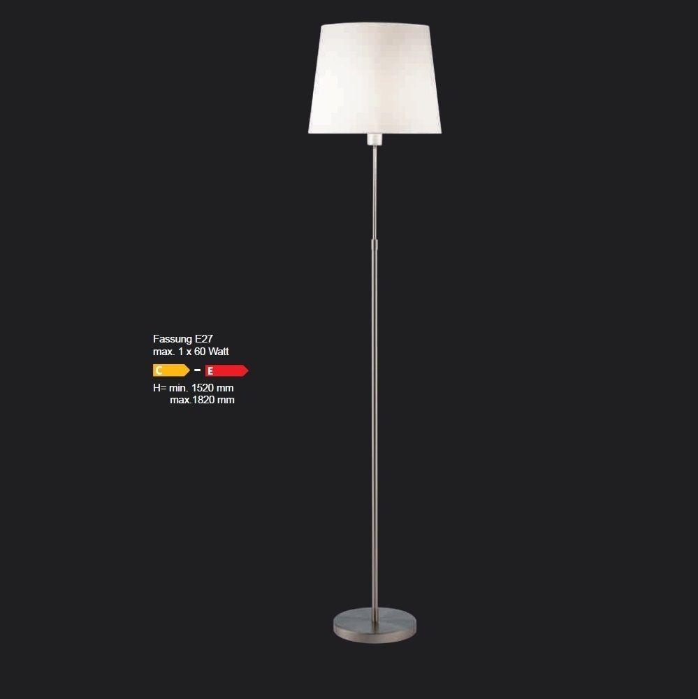 Frontlicht design lupia licht höhenverstellbare stehleuchte in nickel matt schirm