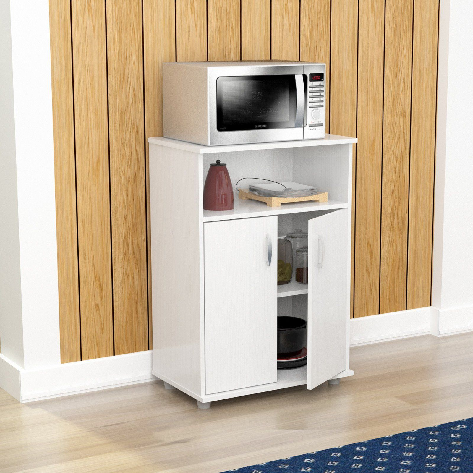 Inval Low Microwave Cart Laricina White Microwave Cabinet Kitchen Cabinet Storage Furniture