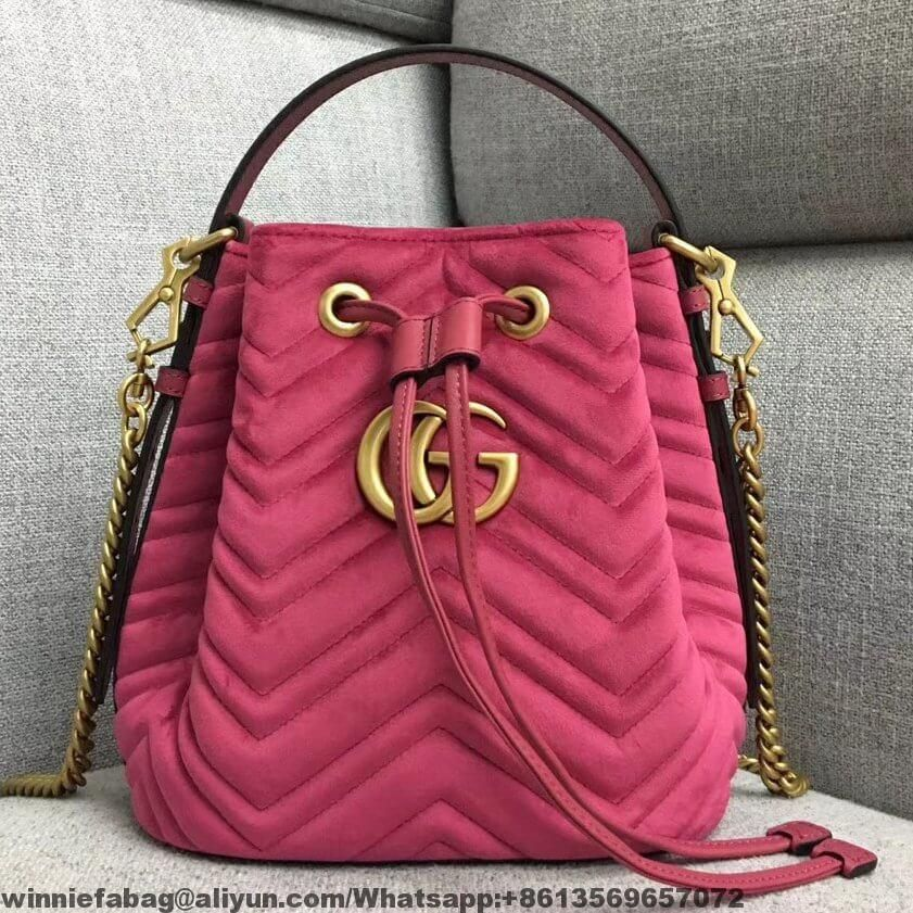 0b01adb1c65e Gucci GG Marmont Quilted Velvet Bucket Bag | Gucci in 2019 | Bags ...