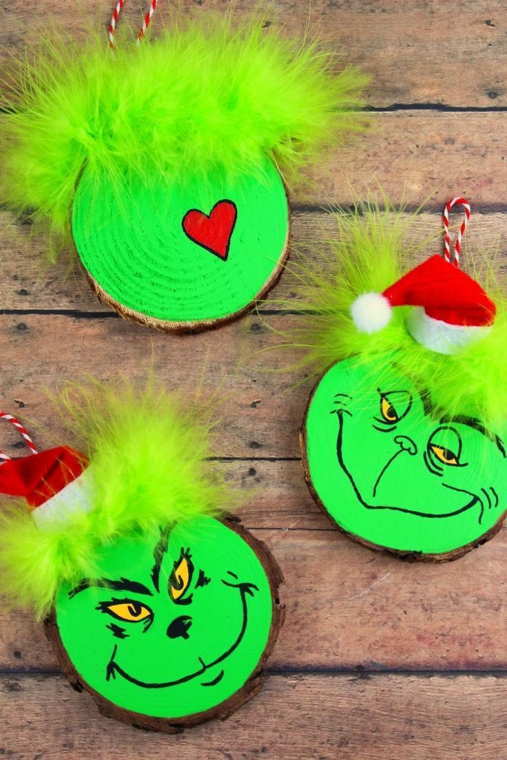 Wood Slice Grinch Ornaments Frugal Mom Eh Holiday Crafts Wood Christmas Ornaments Grinch Christmas Tree