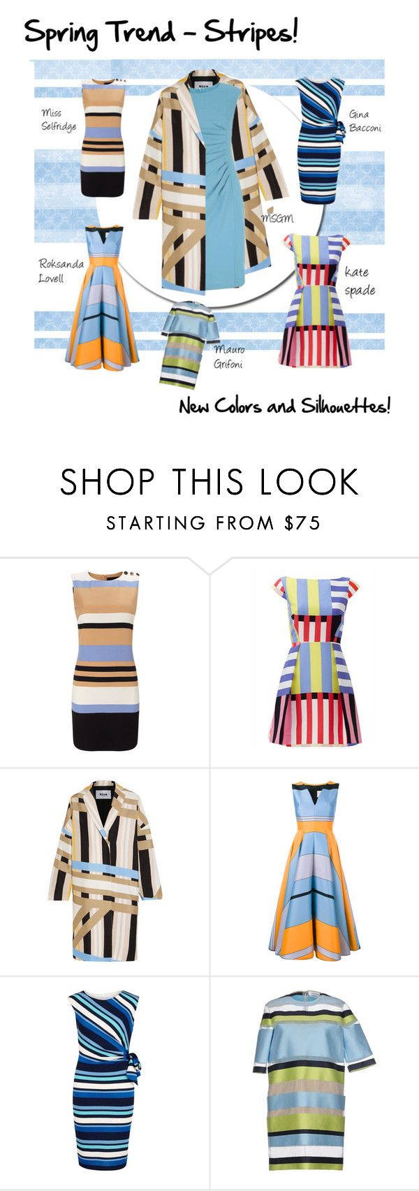 """Spring Trend - The New Stripe!"" by fernshadow ❤ liked on Polyvore featuring Miss Selfridge, Kate Spade, MSGM, Roksanda, Gina Bacconi, Mauro Grifoni and MaxMara"