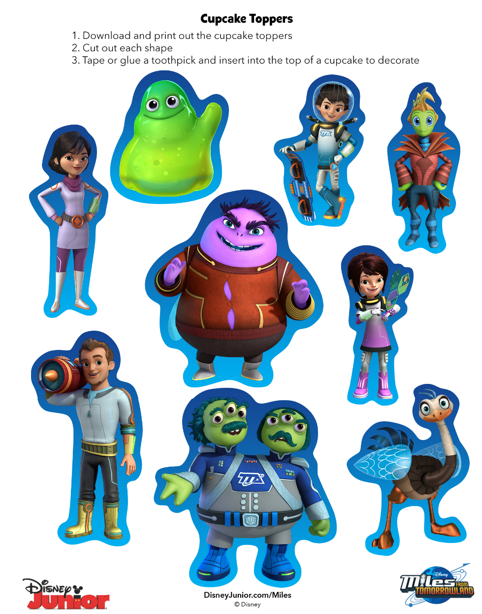 http://family.disney.com/craft/miles-from-tomorrowland-printable-cupcake-toppers                                                                                                                                                                                 Más
