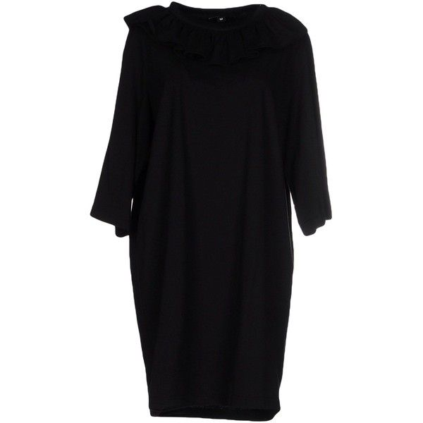 Nicopanda T-shirt (£54) ❤ liked on Polyvore featuring tops, t-shirts, black, three quarter sleeve dress, short jersey dress, 3/4 sleeve short dress, short cotton dress and cotton jersey