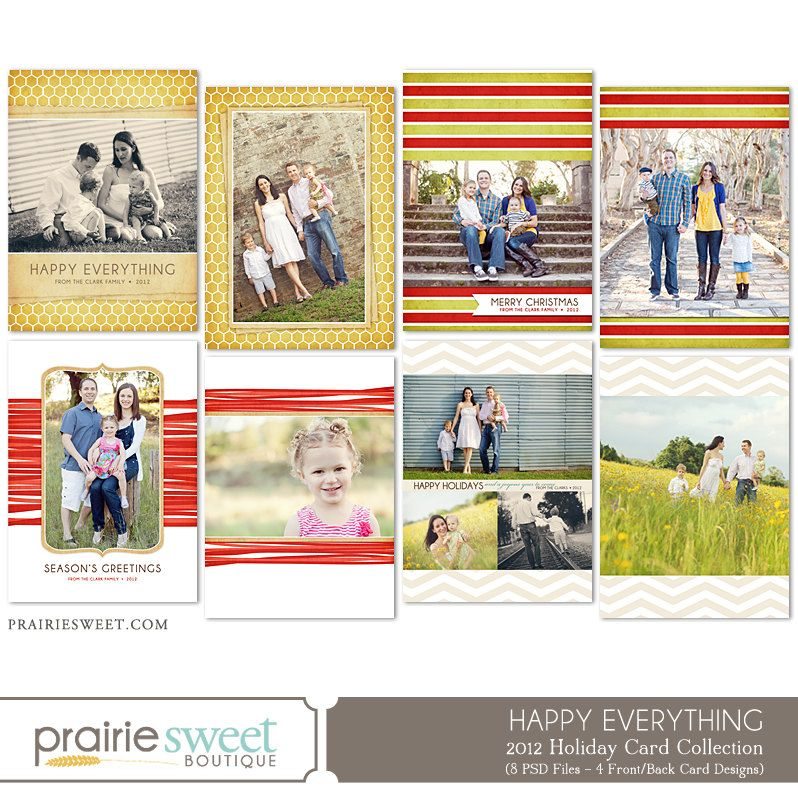 Happy Everything Holiday Christmas Card Collection - Photoshop Templates for Photographers - 8 PSD Files - CS6004