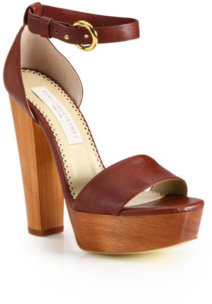 97a6a6298 Stella Mccartney Brown Faux Leather and Wooden Platform Sandals